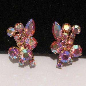 🌺🦩Vintage hot pink Aurora Borealis clip Earrings